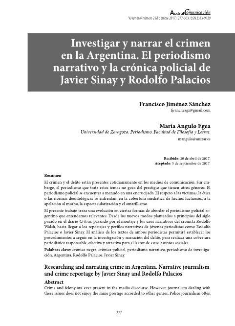 Investigar y narrar el crimen en Argentina. El periodismo narrativo y la crónica policial de Javier Sinay y Rodolfo Palacios