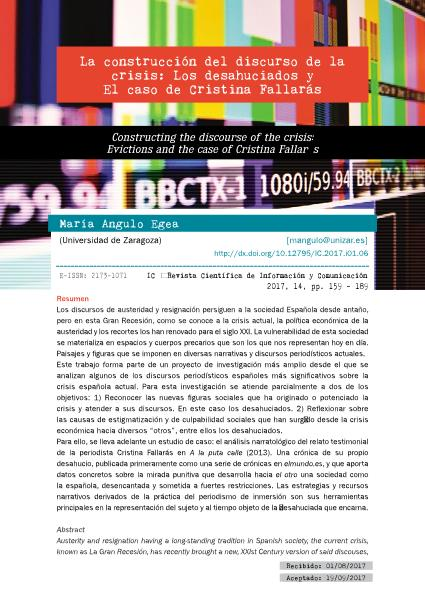 La construcción del discurso de la crisis: los desahuciados y el caso de Cristina Fallarás