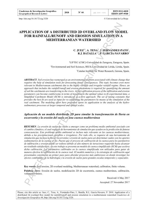 Application of a distributed 2d overland flow model for