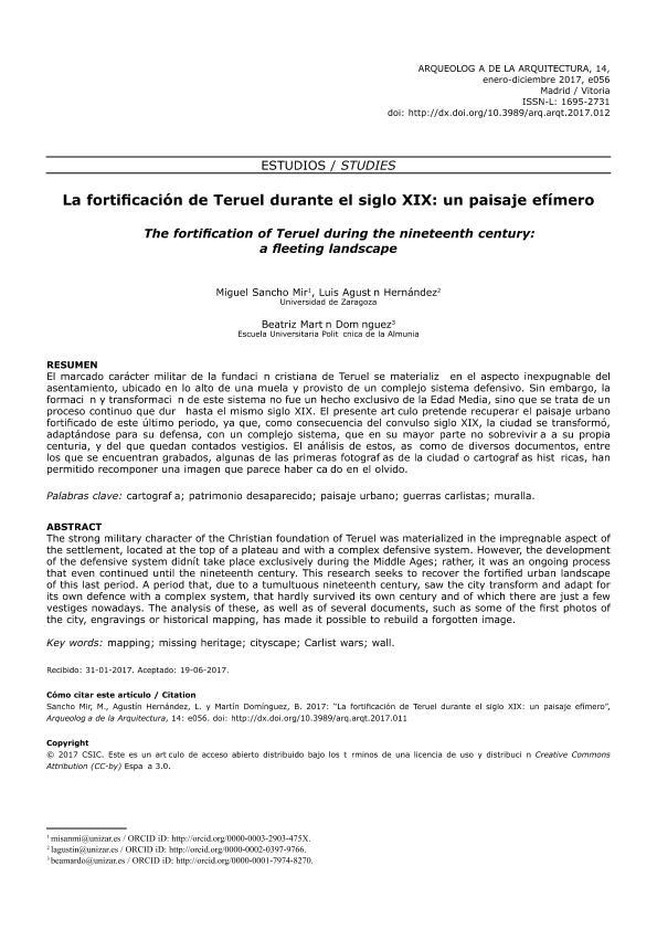 La fortificación de Teruel durante el siglo XIX: un paisaje efímero