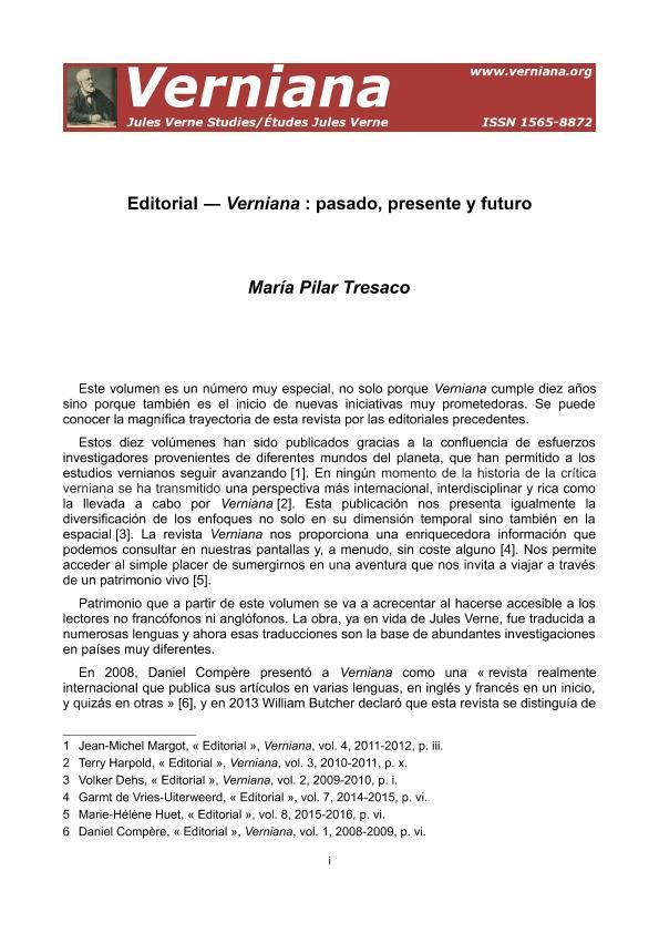 Verniana: pasado, presente y futuro - Verniana: passé, présent et avenir - Verniana: past, present and future