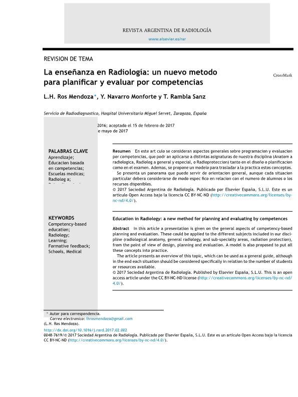 La enseñanza en Radiología: un nuevo método para planificar y evaluar por competencias