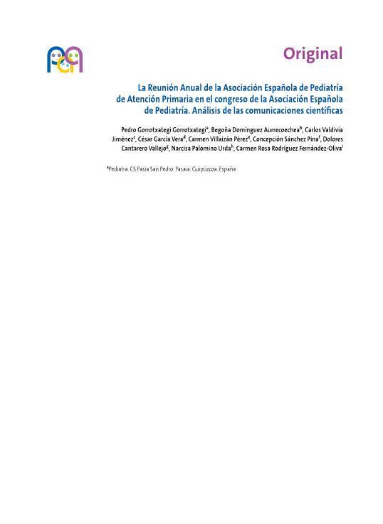 La Reunión Anual de la Asociación Española de Pediatría de Atención Primaria en el congreso de la Asociación Española de Pediatría. Análisis de las comunicaciones científicas