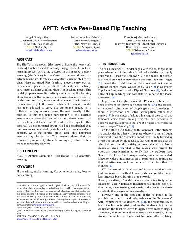 APFT: Active peer-based Flip Teaching