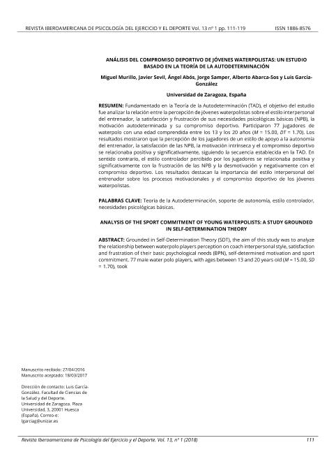 Análisis del compromiso deportivo de jóvenes waterpolistas: Un estudio basado en la Teoría de la AutoDeterminación