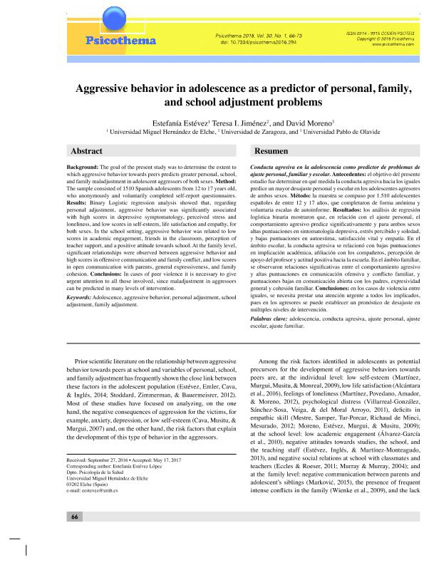 Aggressive behavior in adolescence as a predictor of personal, family, and school adjustment problems