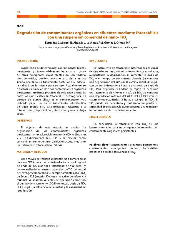 Degradación de contaminantes orgánicos en efluentes mediante fotocatálisis con una suspensión comercial de nano-TiO2