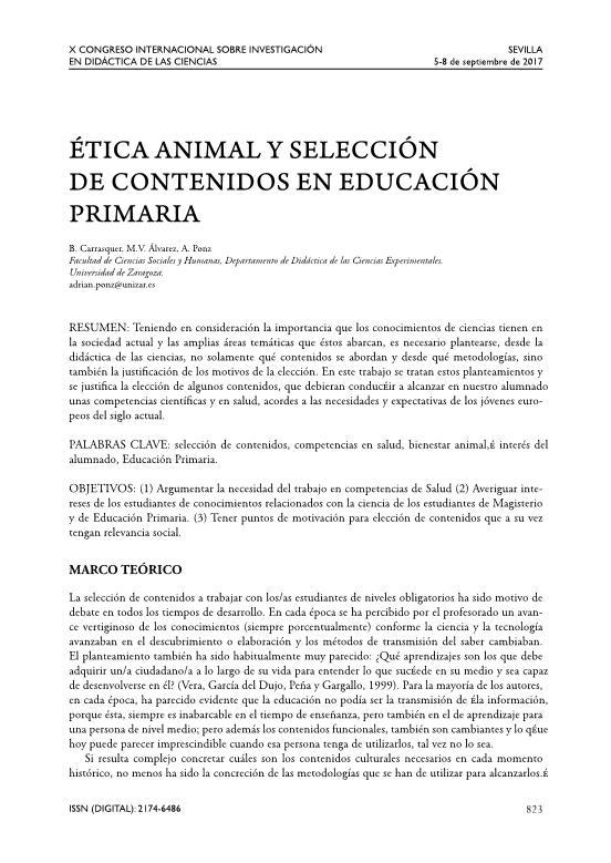 Ética animal y selección de contenidos en Educación Primaria