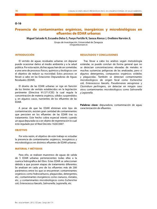 Presencia de contaminantes orgánicos, inorgánicos y microbiológicos en efluentes de EDARs urbanas