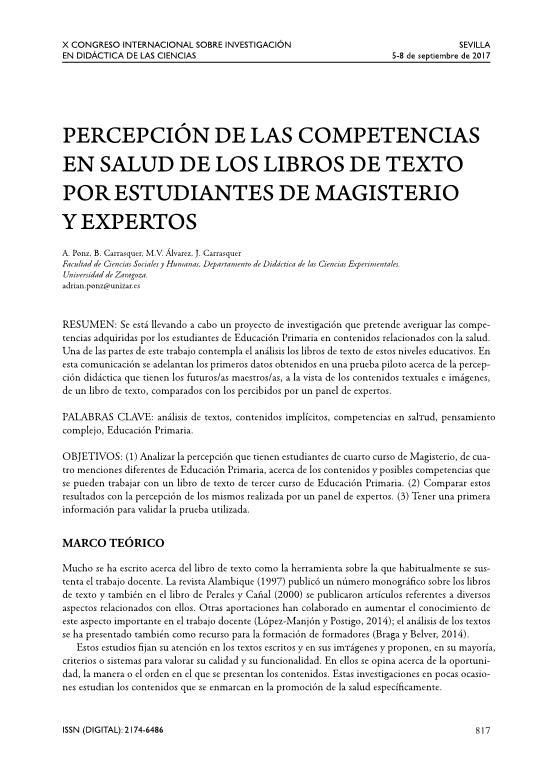Percepción de las competencias en salud de los libros de texto por estudiantes de magisterio y expertos.