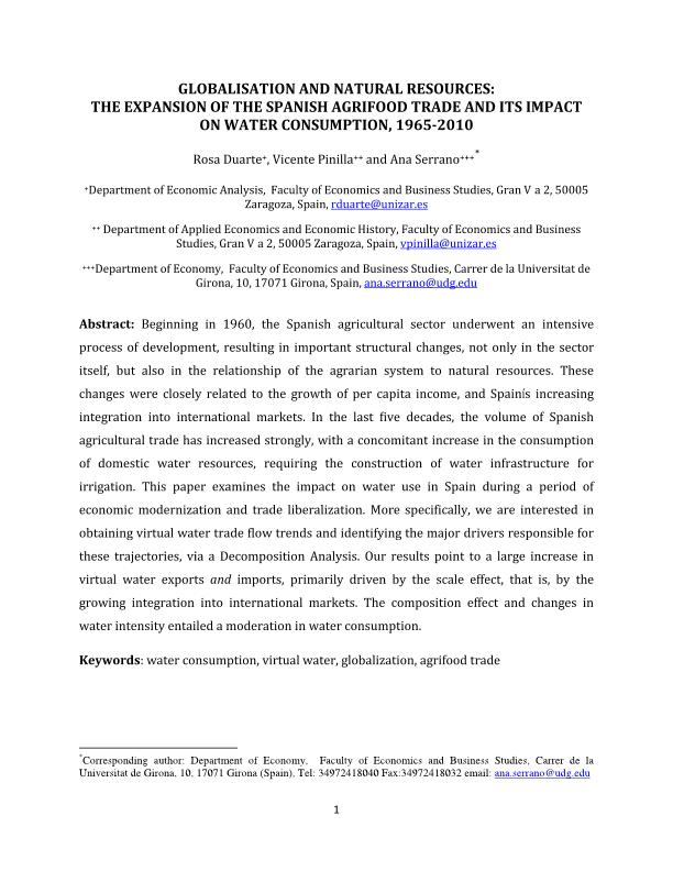 Globalization and natural resources: the expansion of the Spanish agrifood trade and its impact on water consumption, 1965–2010