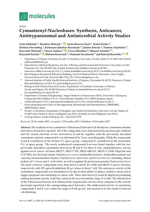Cymantrenyl-nucleobases: Synthesis, anticancer, antitrypanosomal and antimicrobial activity studies
