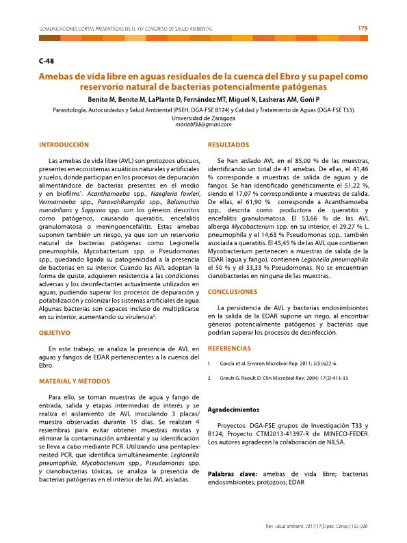 Amebas de vida libre en aguas residuales de la cuenca del Ebro y su papel como reservorio natural de bacterias potencialmente patógenas