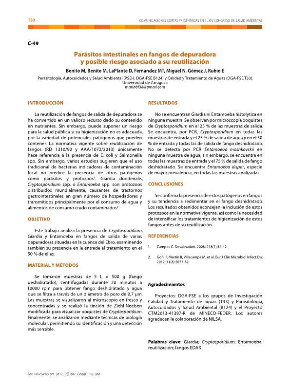 Parásitos intestinales en fangos de depuradora y posible riesgo asociado a su reutilización