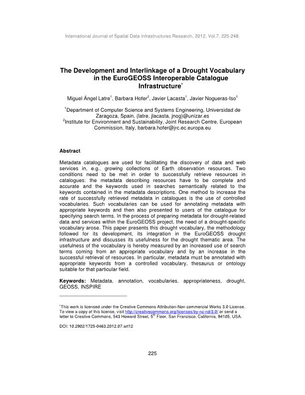 The development and interlinkage of a drought vocabulary in the EuroGEOSS interoperable catalogue infrastructure