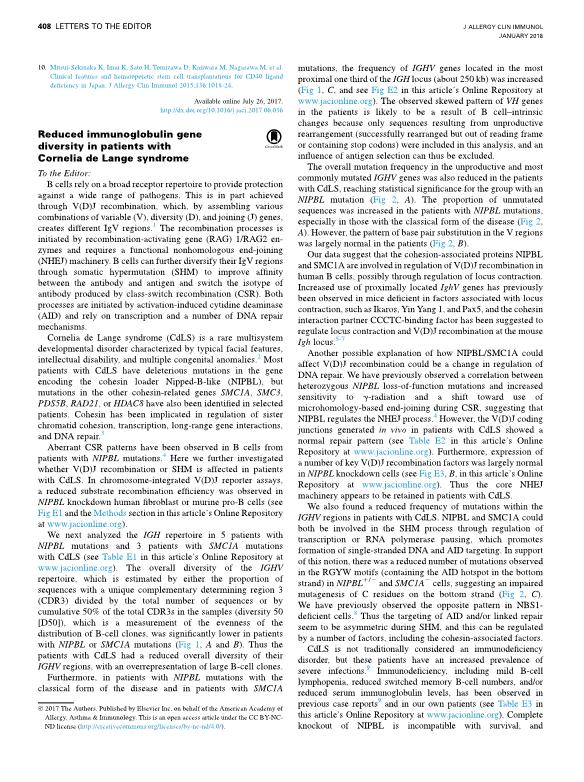 Reduced immunoglobulin gene diversity in patients with Cornelia de Lange syndrome