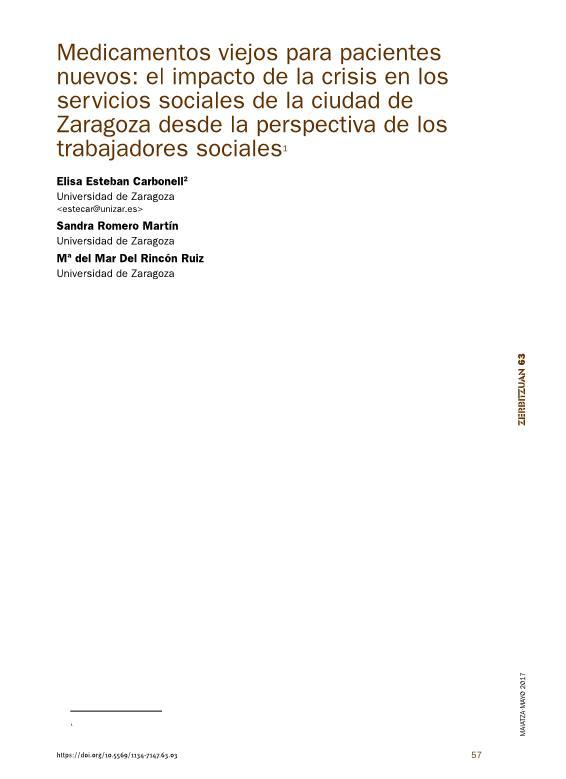Medicamentos viejos para pacientes nuevos: el impacto de la crisis en los servicios sociales de la ciudad de zaragoza desde la perspectiva de los trabajadores sociales
