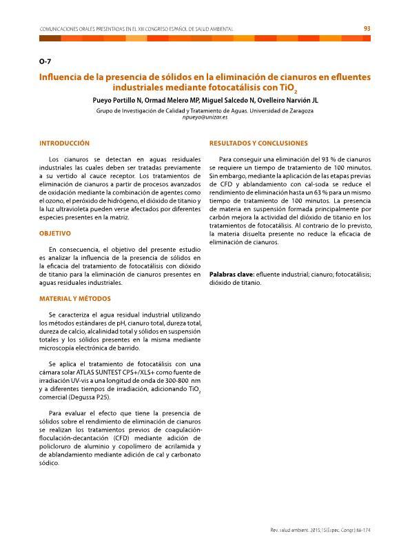 Influencia de la presencia de sólidos en la eliminación de cianuros en efluentes industriales mediante fotocatálisis con TiO2