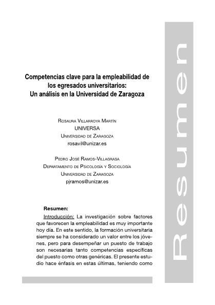 Competencias clave para la empleabilidad de los egresados universitarios: un análisis en la Universidad de Zaragoza