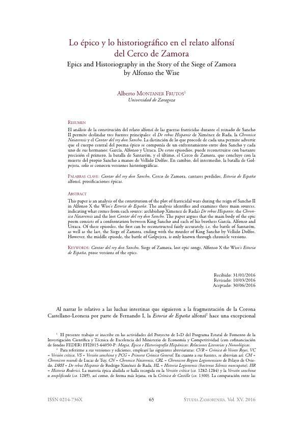 Lo épico y lo historiográfico en el relato alfonsí del Cerco de Zamora