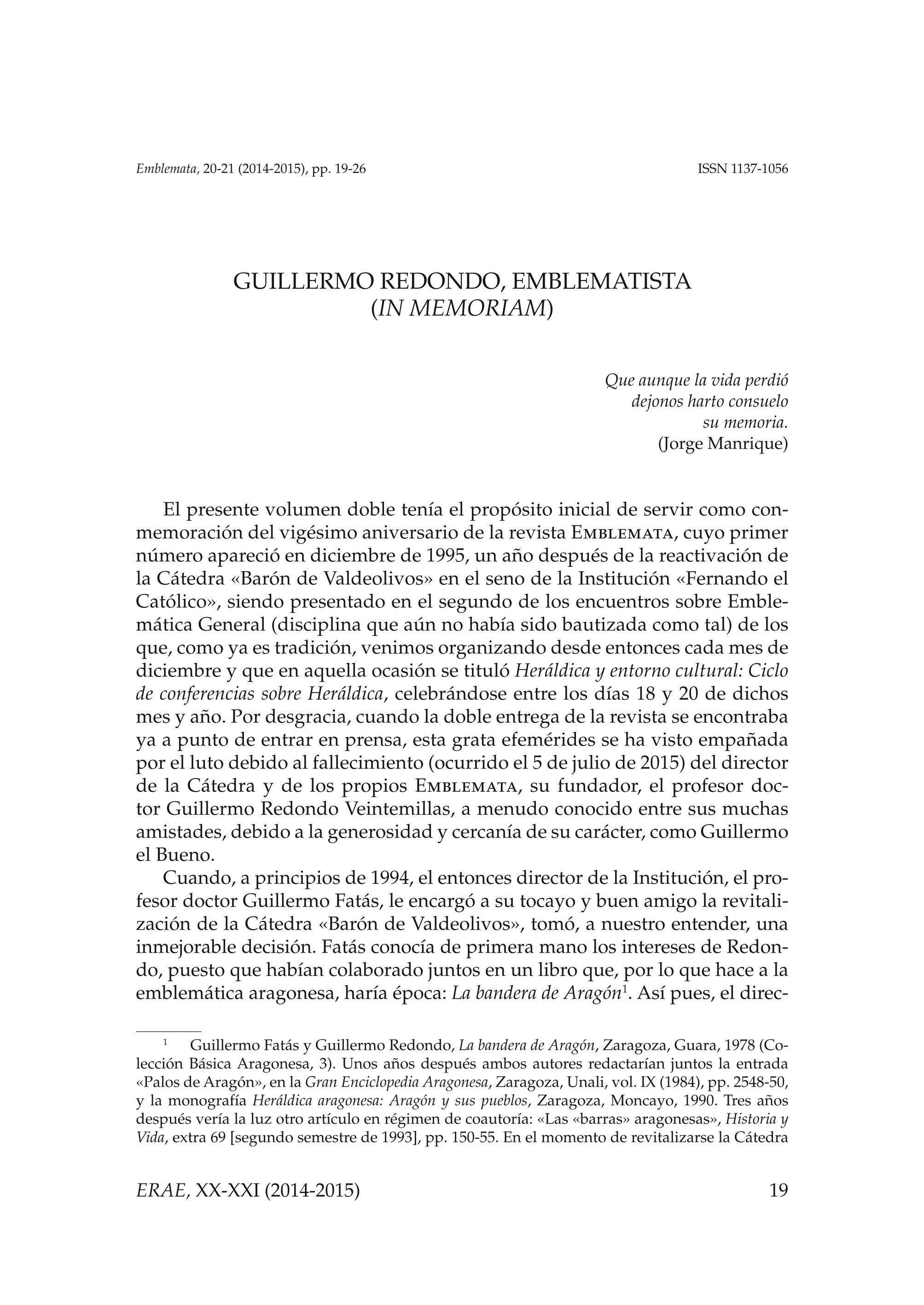 Guillermo Redondo, emblematista (in memoriam)