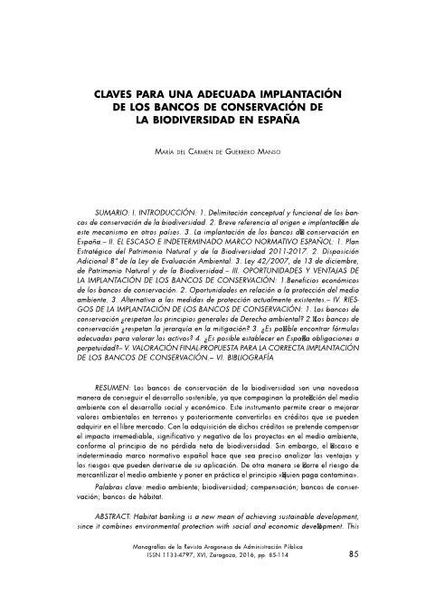 Claves para una adecuada implantación de los Bancos de Conservación de la Biodiversidad en España