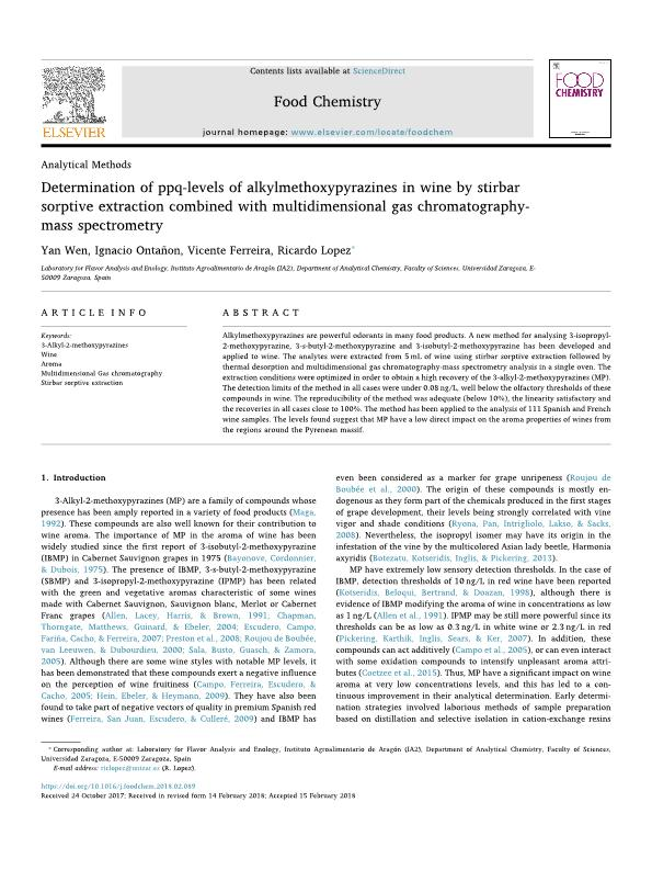 Determination of ppq-levels of alkylmethoxypyrazines in wine by stirbar sorptive extraction combined with multidimensional gas chromatography- mass spectrometry