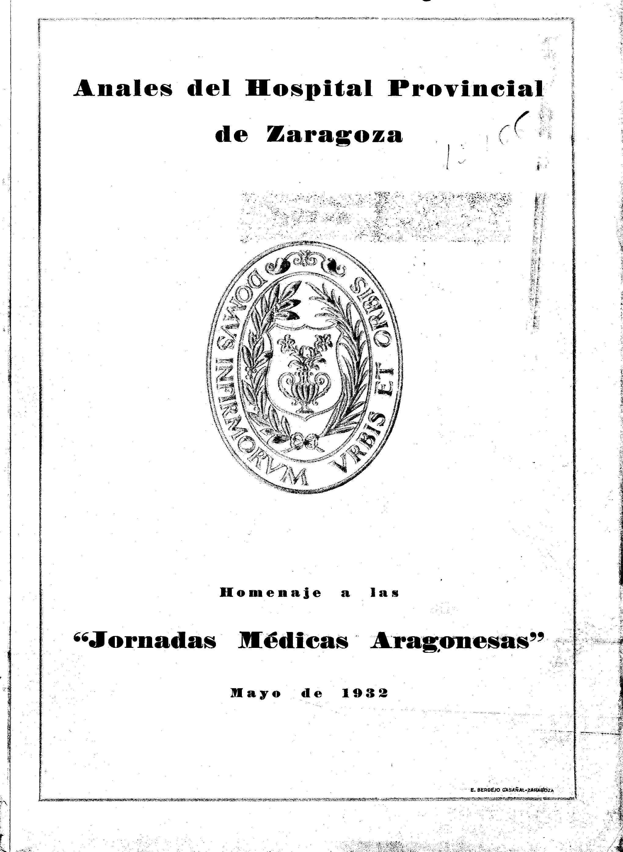 Anales del Hospital Provincial de Zaragoza, mayo,  (1932)