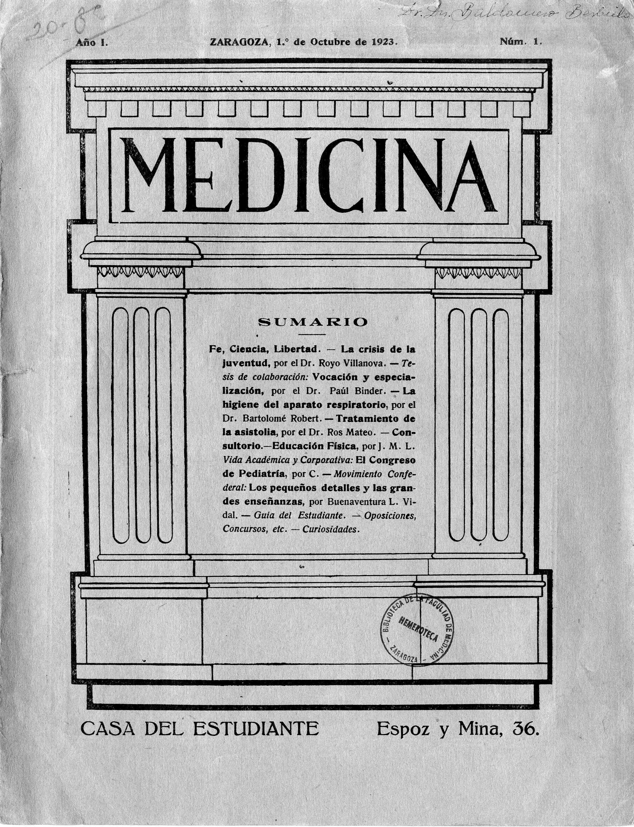 Medicina: Publicación escolar, Año 1, n. 1,  (1923)