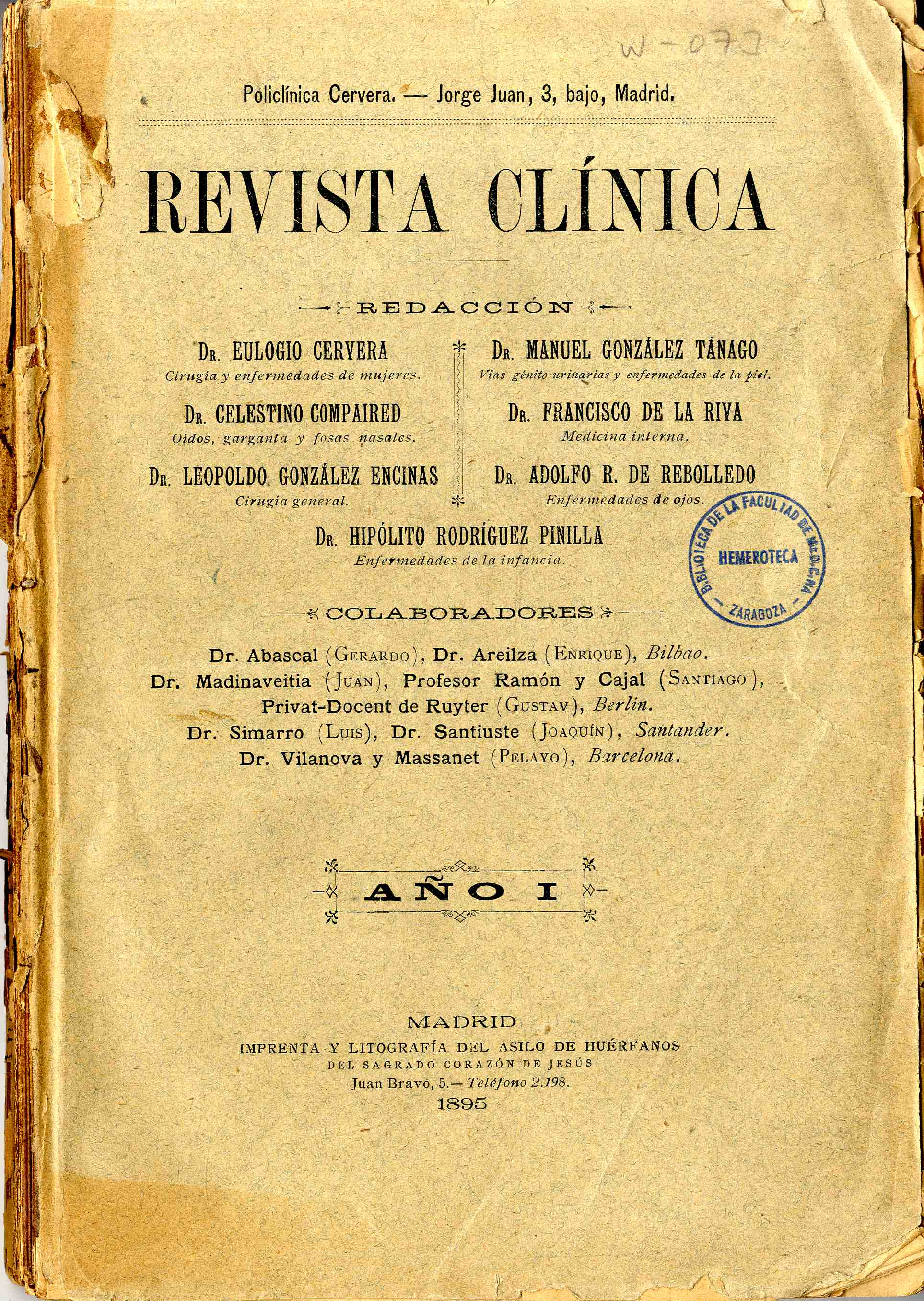 Revista Clínica (Madrid), Año I-II, n-1-24,  (1894-95)