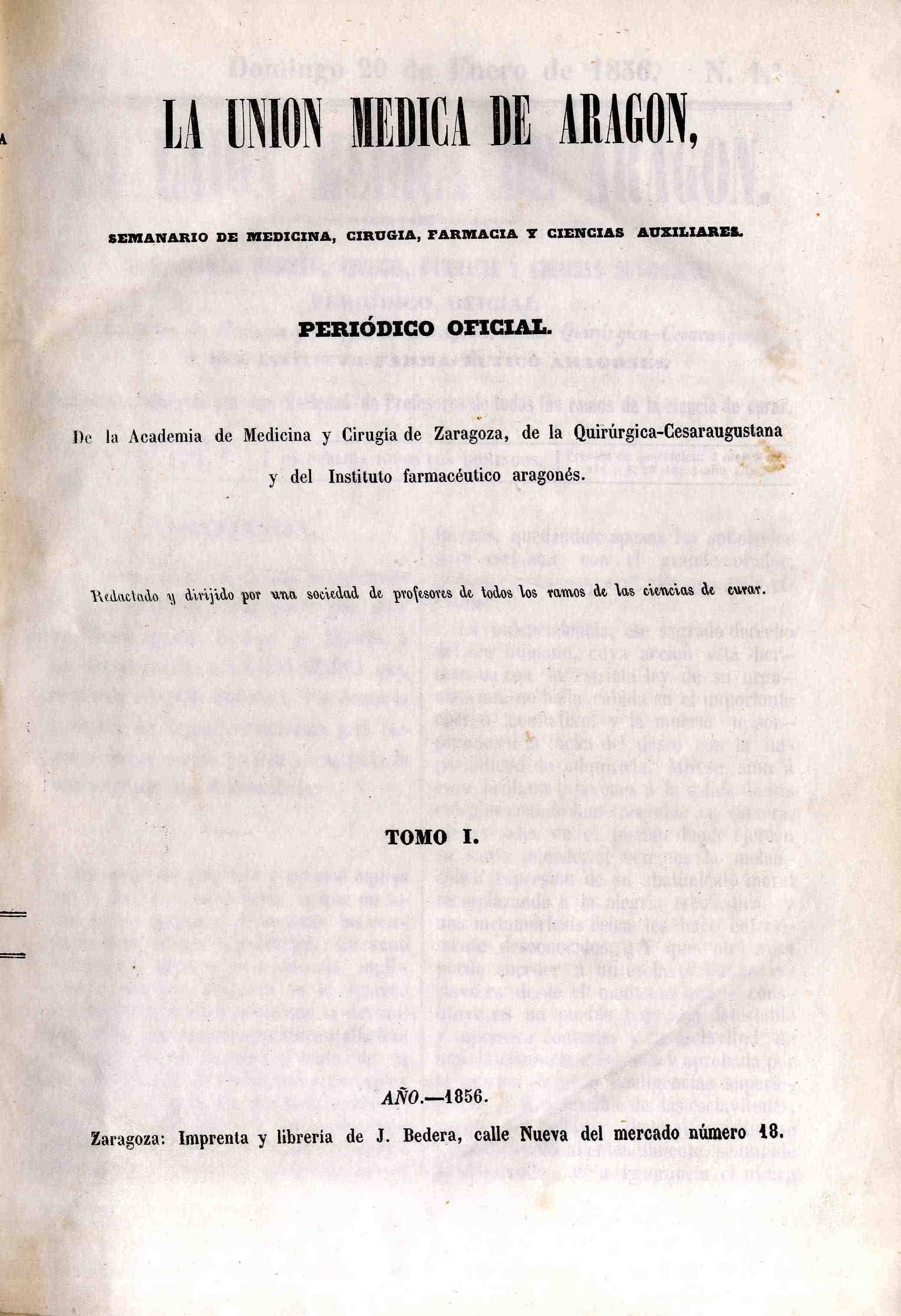 La unión médica de Aragón, T. 1, n. 1-49,  (1856)