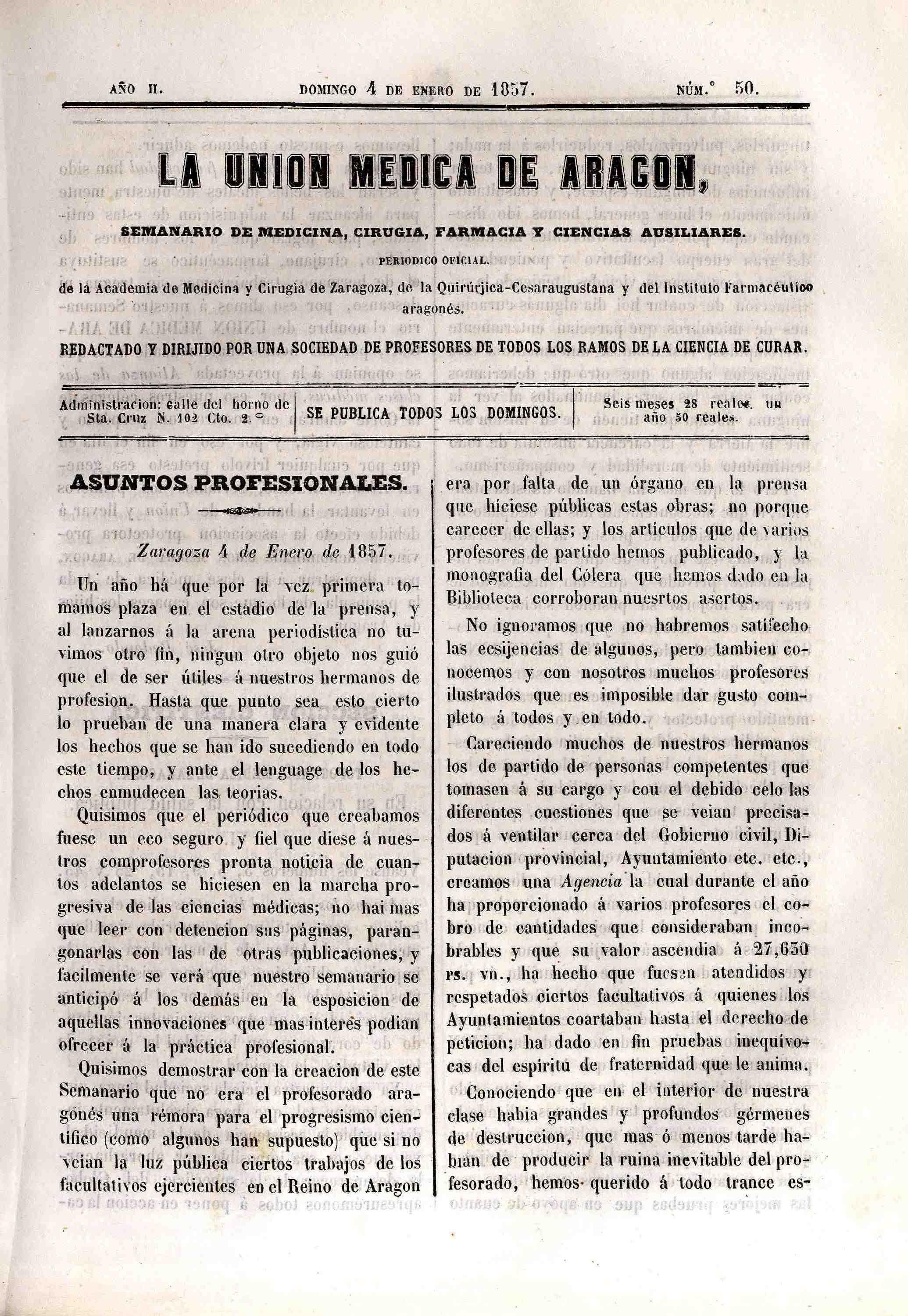 La unión médica de Aragón, T. 2, n. 50-55,  (1857)