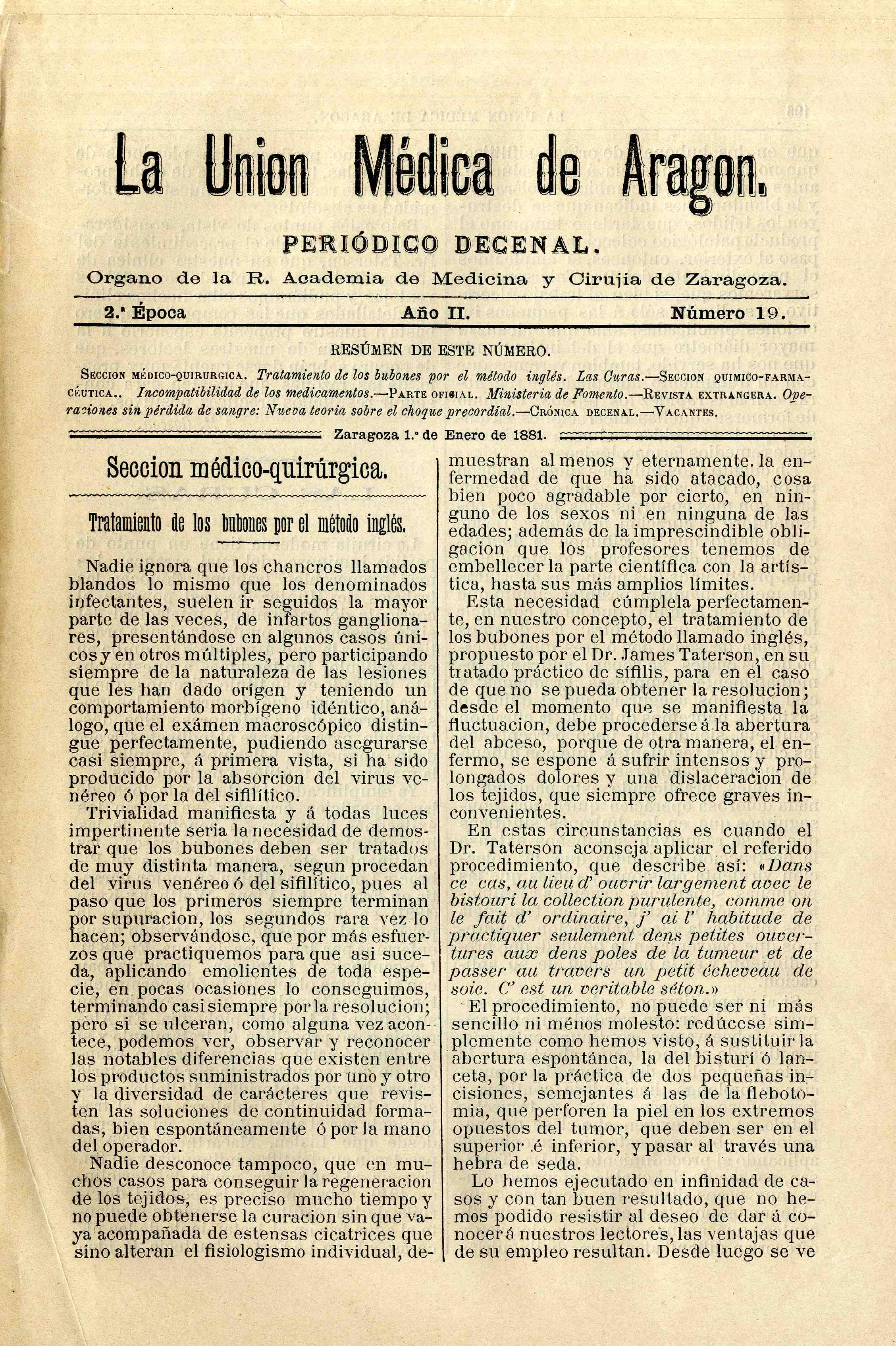 La unión médica de Aragón, 2ªep. A.2, n.19-54,  (1881)
