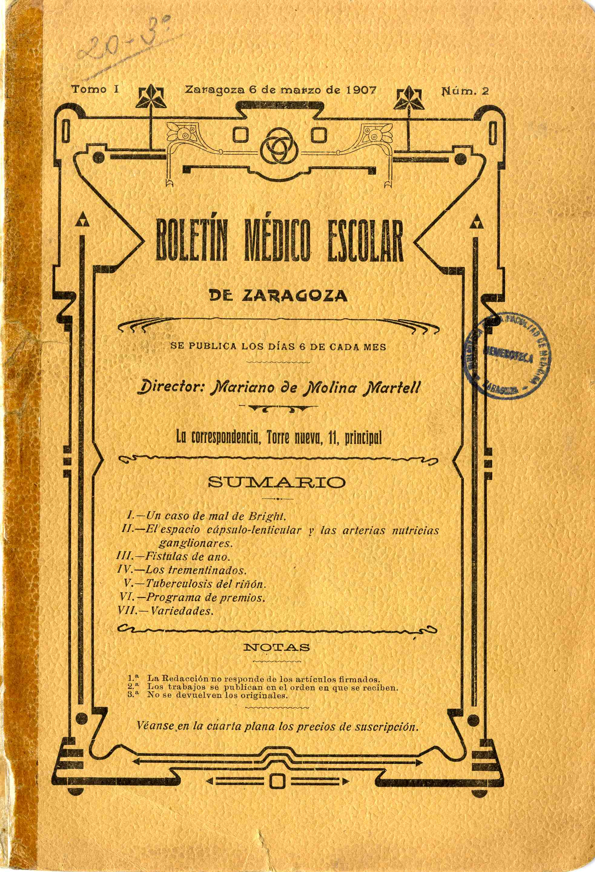 Boletín médico escolar de Zaragoza, T. 1, n.2-4,  (1907)