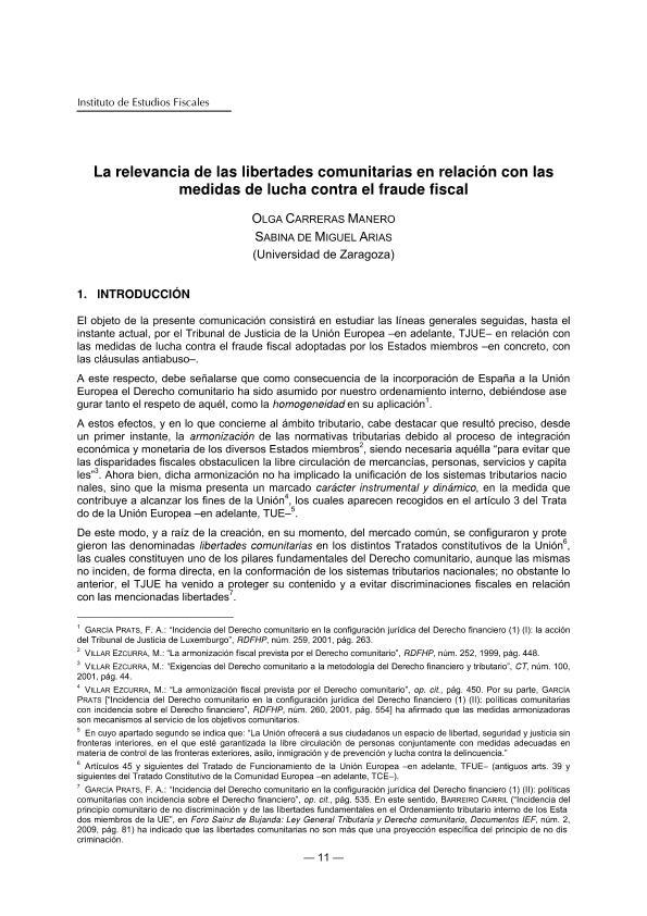 La relevancia de las libertades comunitarias en relación con las medidas de lucha contra el fraude fiscal