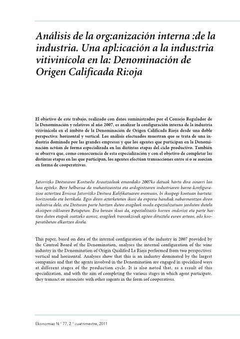 Análisis de la Organización Interna de la Industria. Una Aplicación a la industria Vitivinícola en la Denominación de Origen Calificada Rioja