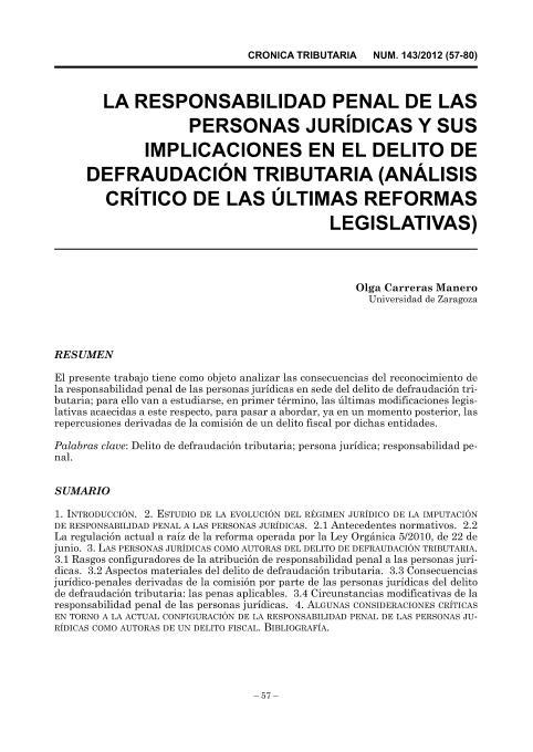 La responsabilidad penal de las personas jurídicas y sus implicaciones en el delito de defraudación tributaria (análisis crítico de las últimas reformas legislativas)