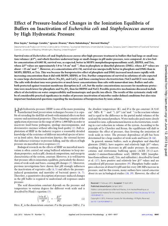 Effect of pressure-induced changes in the ionization equilibria of buffers on inactivation of Escherichia coli and staphylococcus aureus by high hydrostatic pressure
