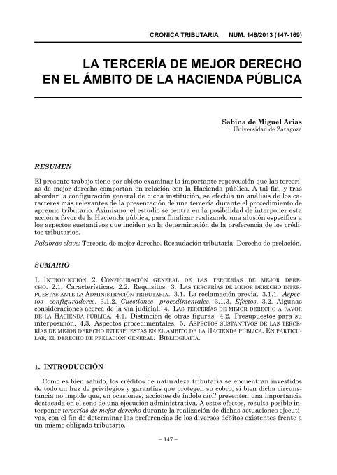 La tercería de mejor derecho en el ámbito de la Hacienda pública