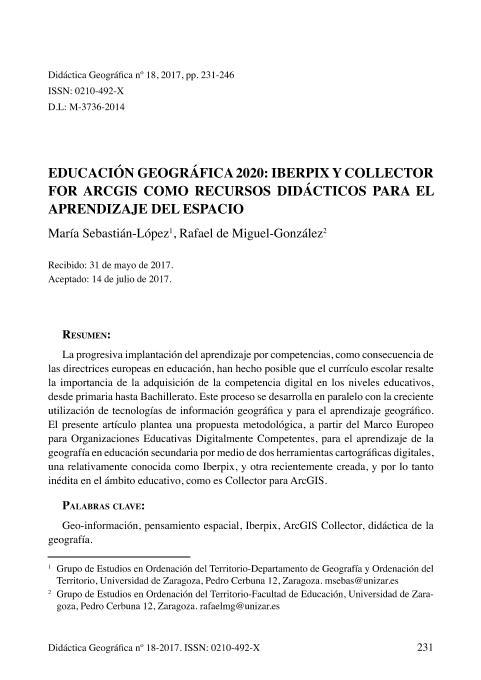 Educación geográfica 2020: Iberpix y collector for arcgis como recursos didácticos para el aprendizaje del espacio
