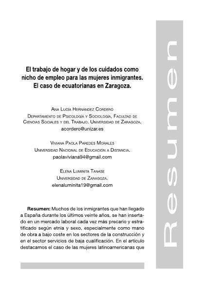 El trabajo de hogar y de los cuidados como nicho de empleo para las mujeres inmigrantes. El caso de ecuatorianas en Zaragoza