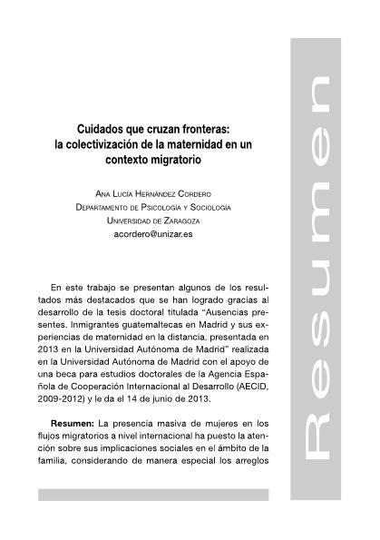 Cuidados que cruzan fronteras: la colectivización de la maternidad en un contexto migratorio