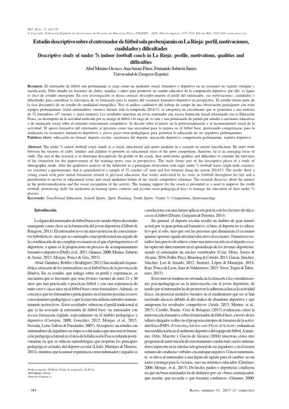 Estudio descriptivo sobre el entrenador de fútbol prebenjamín en La Rioja: perfil, motivaciones, cualidades y dificultades