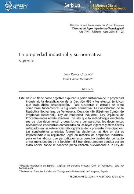 La propiedad industrial y su normativa vigente