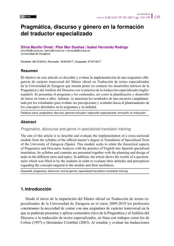 Pragmática, discurso y género en la formación del traductor especializado
