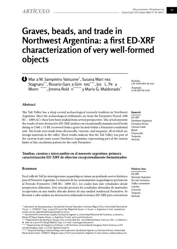 Graves, beads, and trade in Northwest Argentina: A first ED-XRF characterization of very well-formed objects