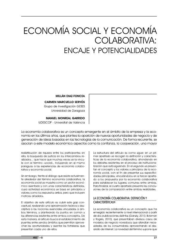 Economía Social y Economía Colaborativa: Encaje y Potencialidades