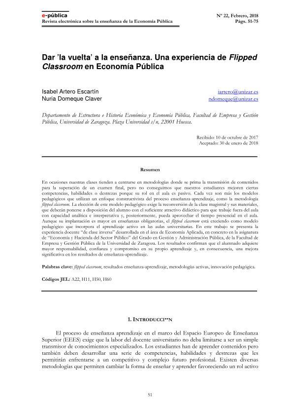Dar 'la vuelta' a la enseñanza. Una experiencia de Flipped Classroom en Economía Pública