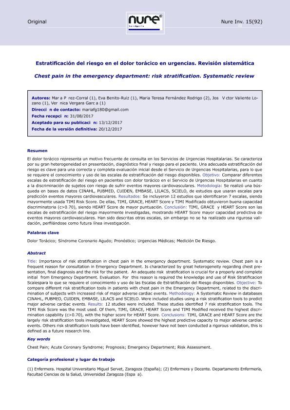 Estratificación del riesgo en el dolor torácico en urgencias. Revisión sistemática