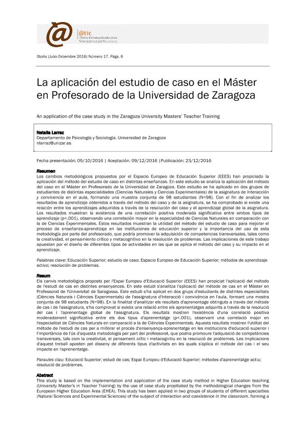 La aplicación del estudio de caso en el Máster en Profesorado de la Universidad de Zaragoza